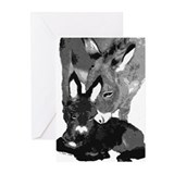 B&W DONKEY Greeting Cards (Pk of 10)