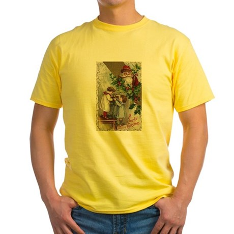 Vintage Christmas Card Yellow T-Shirt