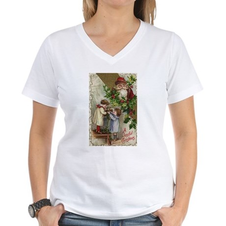Vintage Christmas Card Women's V-Neck T-Shirt