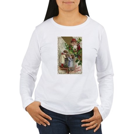 Vintage Christmas Card Women's Long Sleeve T-Shirt