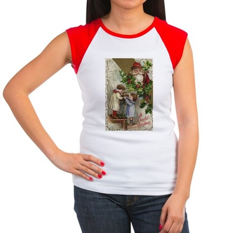 Vintage Christmas Card Women's Cap Sleeve T-Shirt