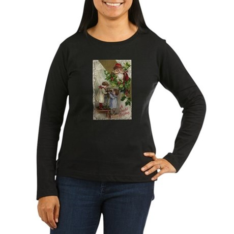 Vintage Christmas Card Women's Long Sleeve Dark T-