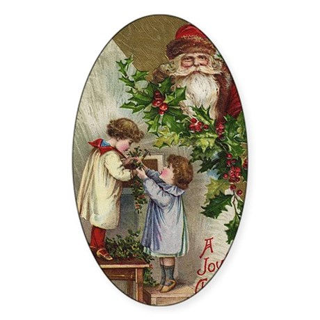 Vintage Christmas Card Oval Sticker
