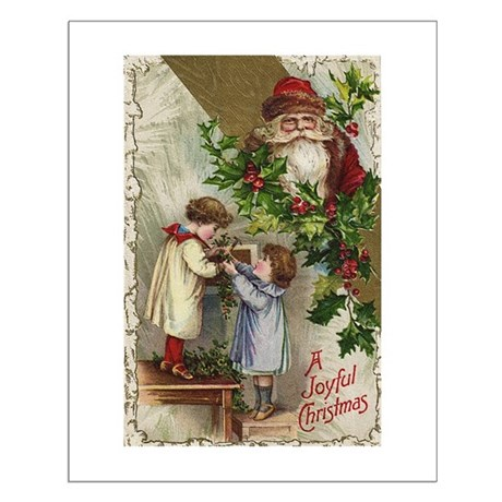 Vintage Christmas Card Small Poster