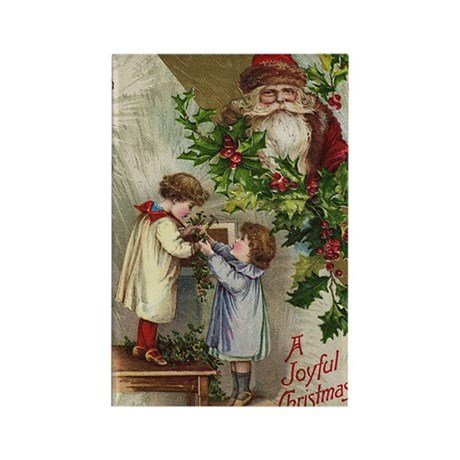 Vintage Christmas Card Rectangle Magnet (100 pack)