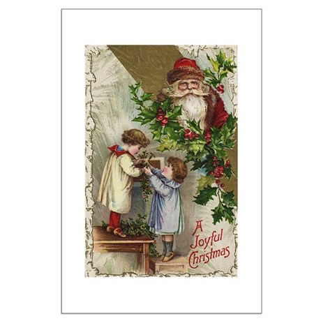 Vintage Christmas Card Large Poster
