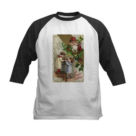Vintage Christmas Card Kids Baseball Jersey