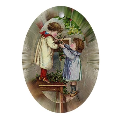 Vintage Christmas Card Oval Ornament
