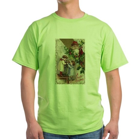 Vintage Christmas Card Green T-Shirt