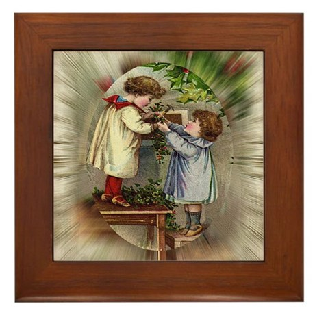 Vintage Christmas Card Framed Tile