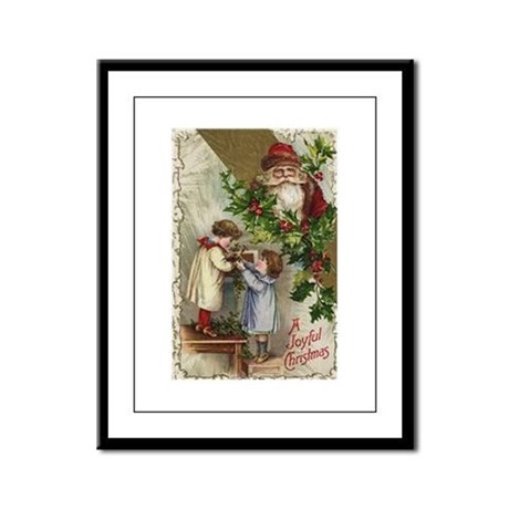 Vintage Christmas Card Framed Panel Print
