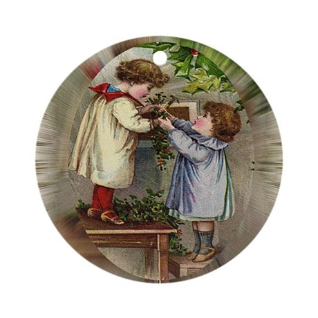 Vintage Christmas Card Ornament (Round)