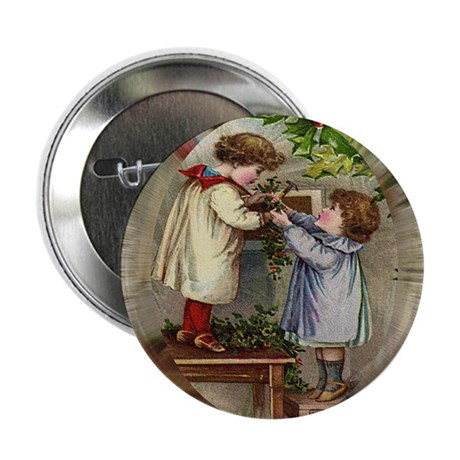 Vintage Christmas Card Button