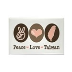 Peace Love Taiwan Rectangle Magnet (100 pack)