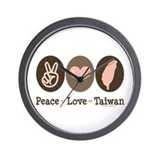 Peace Love Taiwan Wall Clock