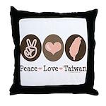 Peace Love Taiwan Throw Pillow
