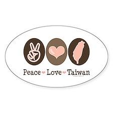 Peace Love Taiwan Oval Decal