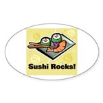 Sushi Rocks Oval Sticker