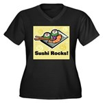 Sushi Rocks Women's Plus Size V-Neck Dark T-Shirt