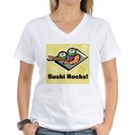 Sushi Rocks Women's V-Neck T-Shirt