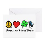 Peace Love Irish Dance Greeting Cards (Pk of 10)