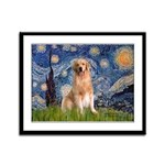 Starry Night / Golden Framed Panel Print