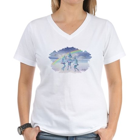 Angels and Rainbows Women's V-Neck T-Shirt
