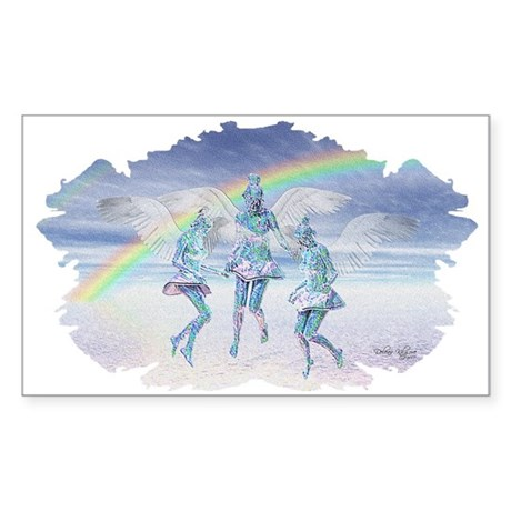 Angels and Rainbows Rectangle Sticker
