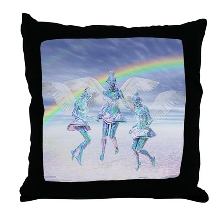 Angels and Rainbows Throw Pillow