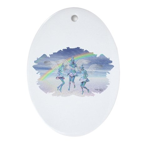 Angels and Rainbows Oval Ornament
