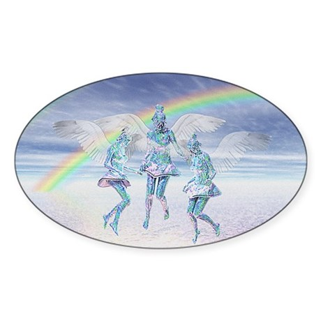 Angels and Rainbows Oval Sticker