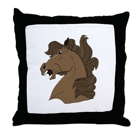 Brown Horse Throw Pillow