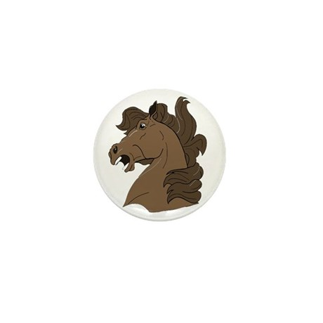 Brown Horse Mini Button (10 pack)