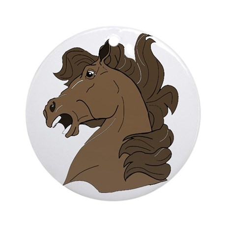 Brown Horse Ornament (Round)