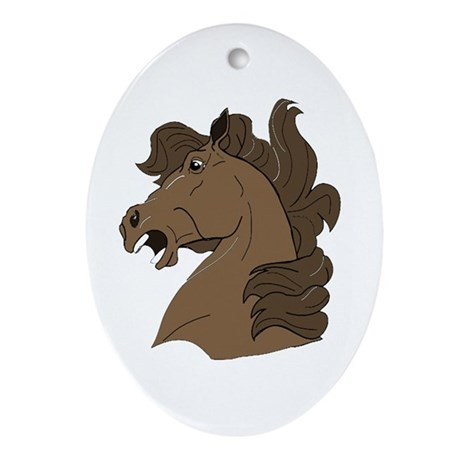 Brown Horse Oval Ornament
