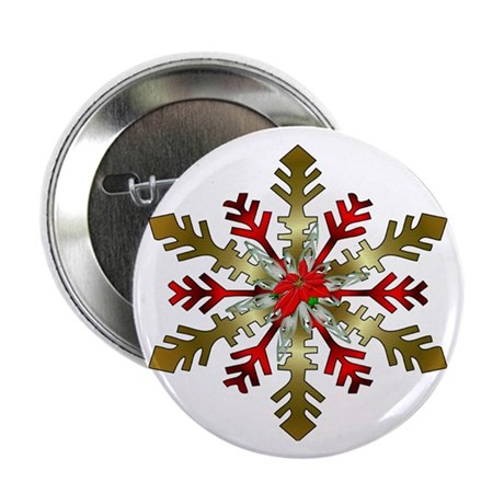 "Red and Gold Snowflake 2.25"" Button (100 pack)"