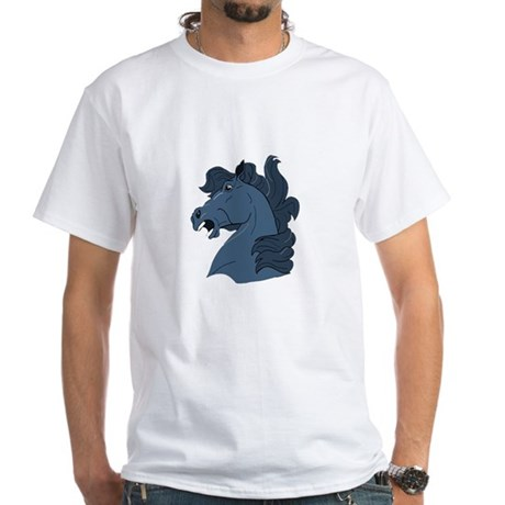 Blue Horse White T-Shirt