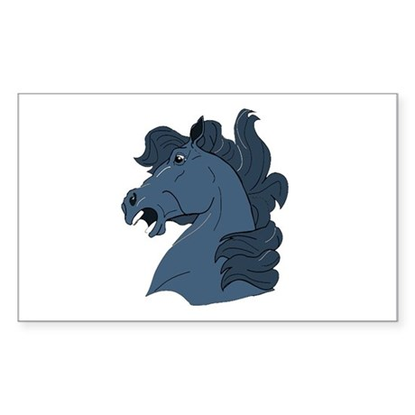 Blue Horse Rectangle Sticker