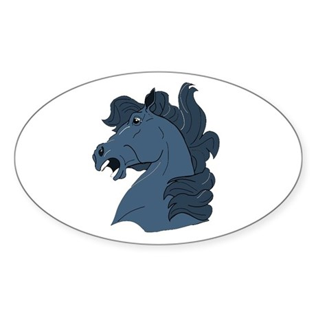 Blue Horse Oval Sticker