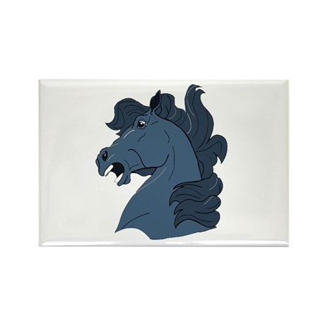 Blue Horse Rectangle Magnet (100 pack)