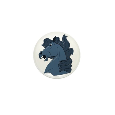 Blue Horse Mini Button