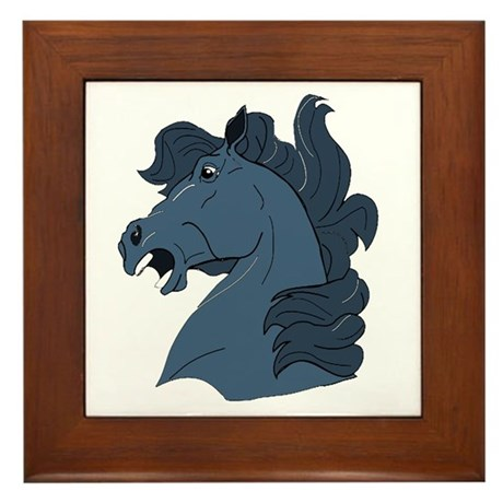 Blue Horse Framed Tile