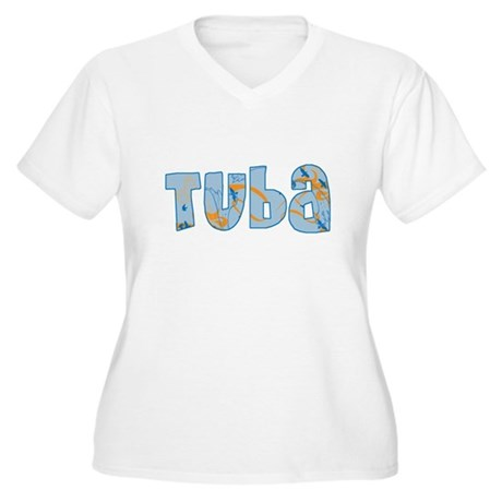 Patterned Tuba Women's Plus Size V-Neck T-Shirt