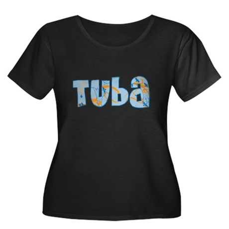 Patterned Tuba Women's Plus Size Scoop Neck Dark T