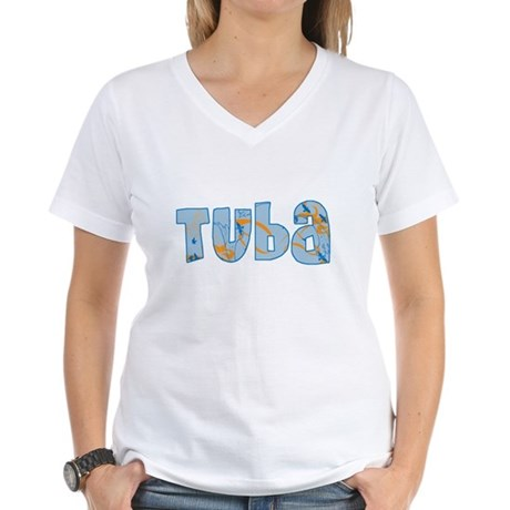 Patterned Tuba Women's V-Neck T-Shirt