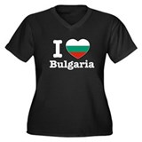 I love Bulgaria Women's Plus Size V-Neck Dark T-Sh