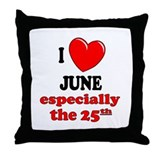 June 25th Throw Pillow