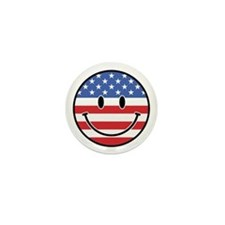 Patriotic Smiley Mini Button