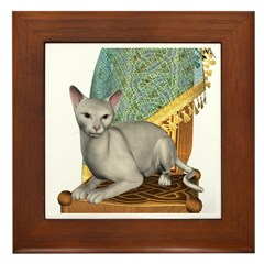 Cat (White Oriental) Framed Tile