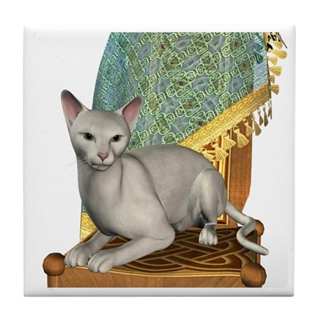 Cat (White Oriental) Tile Coaster